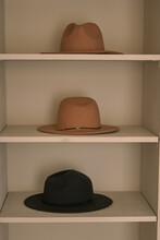 Room House On White Shelves Felt Hats Interior