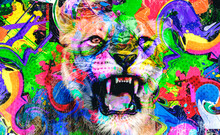 Colorful Artistic Roaring Lion And Cat With Bright Paint Splatters On White Background.
