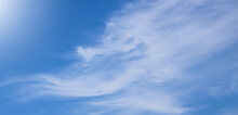 SUMEDANG, INDONESIA - June 13, 2021: Thin Clouds Under The Sun And Blue Sky.