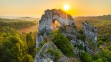 Okiennik Wielki Rock During Sunrise - Jura Krakowsko-Czestochowska - Poland