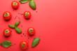 Leinwandbild Motiv Fresh ripe tomatoes, spices and basil leaves on color background