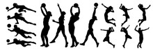 Set Of Women Volleyball Players Silhouette