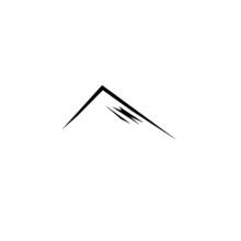 DESIGN MOUNTAIN BLACK WHITE SIMPLE LOGO ART
