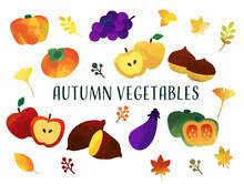 恵の秋の野菜と果物のベクターイラスト素材/リンゴ/栗