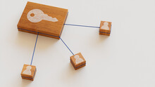 Security Technology Concept With Key Symbol On A Wooden Block. User Network Connections Are Represented With Blue String. White Background. 3D Render.