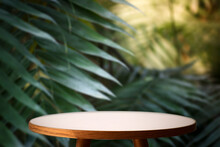 Jungle Table Background. Interior Table For A Cosmetic Item Against The Backdrop Of Tropical Plants, Palms And Jungle.