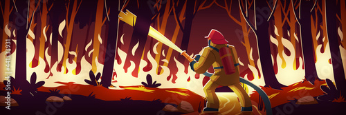 Fototapeta Fireman fight with fire in forest, man extinguish burning wildfire at night wood with raging flames