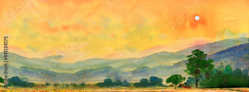 Photographie Watercolor landscape painting of village, mountain and meadow