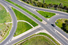 Aerial View Of A Freeway On And Off Ramp Intersection