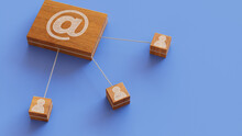 Email Technology Concept With @ Symbol On A Wooden Block. User Network Connections Are Represented With White String. Blue Background. 3D Render.