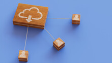 Data Storage Technology Concept With Cloud Download Symbol On A Wooden Block. User Network Connections Are Represented With White String. Blue Background. 3D Render.