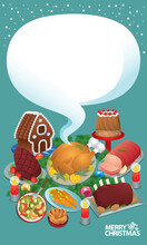 Fabulous Food Prepared For Christmas Festival. With Solid Color Background.