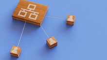 Network Technology Concept With Ethernet Symbol On A Wooden Block. User Network Connections Are Represented With White String. Blue Background. 3D Render.