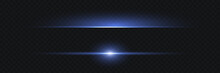 Blue Horizontal Lens Flares Pack. Laser Beams, Horizontal Light Rays.Beautiful Light Flares. Glowing Streaks On Dark Background. Luminous Abstract Sparkling Lined Background.