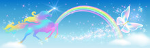 Galloping Iridescent Unicorn With Luxurious Winding Mane And Flying Butterfly Against The Background Of The Fantasy Universe With Sparkling Stars, Clouds And Rainbow