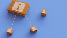 Information Technology Concept With Info Symbol On A Wooden Block. User Network Connections Are Represented With White String. Blue Background. 3D Render.