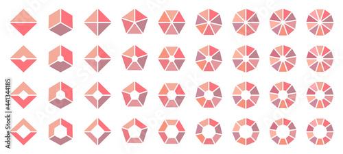 Set Eckige Tortendiagramme Rosa Orange Lila