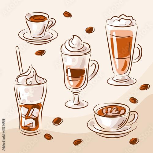 Obraz na plátně Coffee drink hand drawn collection