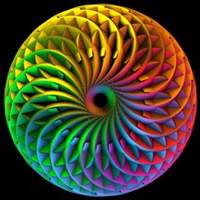 Rainbow Color Ornament. Abstract Ring With Rough Surface. Futuristic Radial Effect. 3D Rendering
