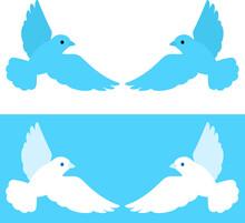 左右で対になった羽ばたく小鳥のイラストセット