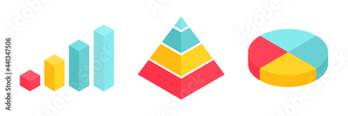 Isometric graph, pyramid and pie chart set. Business colorful analysis symbols for reports and presentations.