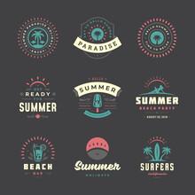 Summer Holiday Labels And Badges Retro Design Set