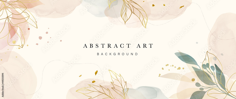 Obraz Abstract art background vector. Luxury minimal style wallpaper with golden line art flower and botanical leaves, Organic shapes, Watercolor. Vector background for banner, poster, Web and packaging. fototapeta, plakat