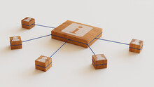 Information Technology Concept With Info Symbol On A Wooden Block. User Network Connections Are Represented With Blue String. White Background. 3D Render.