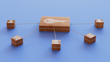 Security Technology Concept With Key Symbol On A Wooden Block. User Network Connections Are Represented With White String. Blue Background. 3D Render.