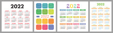 Calendar 2022 Year Set. Vector Template Collection. Simple Design. Week Starts On Sunday. January, February, March, April, May, June, July, August, September, October, November, December
