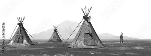 Canvas Print Indianerlager in einer Landschaft