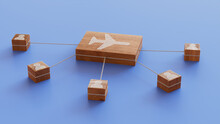 Flight Technology Concept With Airplane Symbol On A Wooden Block. User Network Connections Are Represented With White String. Blue Background. 3D Render.