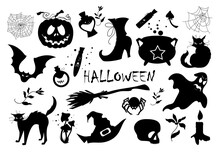 A Set Of Vector Elements For Halloween. Silhouettes Of Images For Packaging Design, Postcards, Posters. Clipart On A White Background.