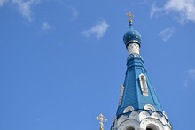 Russian Orthodox Church In The Blue Sky, Blue And White Church