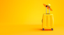 Yellow Luggage And Hat Travel Concept Background Copy Space 3D Rendering