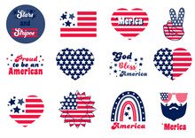 4th Of July Set With Logo. Independence Day Bundle With American Flag, Heart, Sunglasses. Peace, Love, America With Stripes And Stars. Fourth Of July With Sunflower, Rainbow. Proud To Be An American.