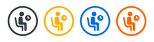Person Waiting On Chair Icon Sign. Vector Illustration