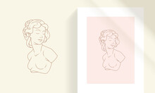 Beautiful Bohemian Female Bust Line Art Style Vector Illustration