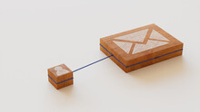 Email Technology Concept With Envelope Symbol On A Wooden Block. User Network Connections Are Represented With Blue String. White Background. 3D Render.