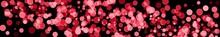 Abstract Holiday Background With Red Blurred Bokeh On Black Background Panoramic View With Red And Pink Circles