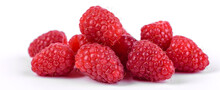 Ripe Raspberries With Raspberry Leaf Isolated On A White Background
