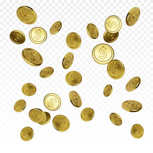 Realistic Gold Coin On Transparent Background. Jackpot Or Casino Poker Win Element. Cash Treasure Concept. Falling Or Flying Money. Vector