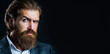 canvas print picture - Portrait of handsome bearded man in suit. Male beard and mustache. Sexy male, brutal macho, hipster. Elegant handsome man in suit. Handsome bearded businessman