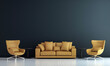 Leinwandbild Motiv Modern decor and living room interior and furniture mock up and blue wall texture background