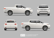 Realistic Electric Pickup Truck Vector Mockup Template For Car Branding And Advertising Design Isolated From Grey. White Pickup Mockup View From Side, Front, Back