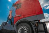 Fototapeta Łazienka - Euro Semi Truck Driver Going For Another Long Trip