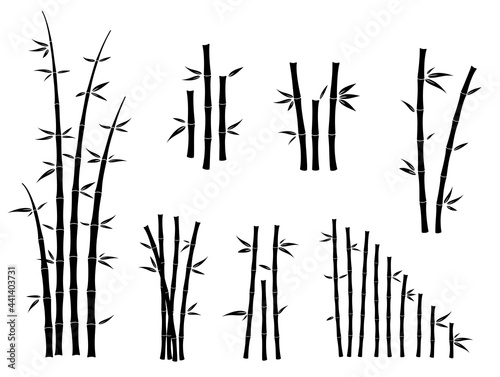 Photo set of bamboo asian culture icons or asian bamboo silhouette isolated or various bamboo stalks and stems with leaves concept