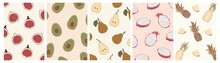 Vector Abstract Tropical Fruits Summer Posters