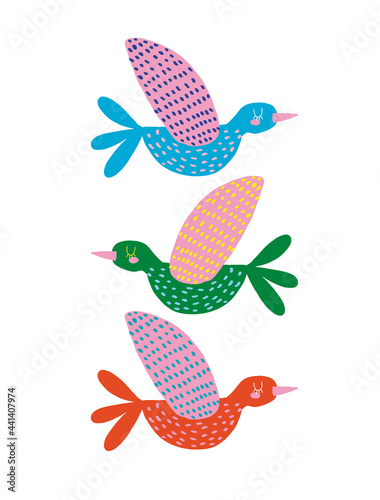 Cute Hand Drawn Vector Illustration with Funny Colorful Birds on a White Background Fototapeta