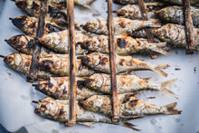 Freshwater Fish Wrapped In Bamboo And Grilled With Wooden Shavings Are Sold At The Yasothon Municipal Market, Thailand.